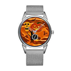 Fashion Men Watch Silvery Stainless Steel Waterproof Watch Men Top Brand Luxury Men's Watch Clock Halloween Pumpkin Skull Black Leather Men's Watch