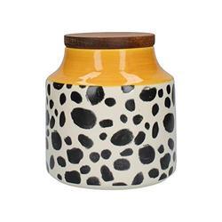 MIKASA Drift Storage Jar/Tea, Sugar or Coffee Container with Lid, Ceramic, Cheetah Print/Yellow 12.5 x 13 cm