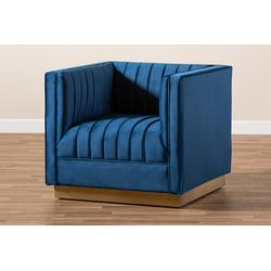 Baxton Studio Aveline Glam & Luxe Navy Blue Velvet Fabric Upholstered Brushed Gold Finished Armchair - TSF-BAX66111-Navy/Gold-CC