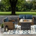 Bradenton 3 Piece Outdoor Wicker Seating Set With Navy Cushions - Loveseat, Arm Chair & Fire Table - Crosley KO70161-NV