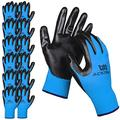 ACKTRA Nitrile Coated Nylon Safety WORK GLOVES 12 Pairs, Knit Wrist Cuff, Multipurpose, for Men & Women, WG003 Blue Polyester, Black Nitrile, Large