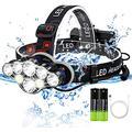 Head Flashlight,Head Torch, 8 Led Head Torch Rechargeable Headlamp With 8 Modes 6000 Lumen, Waterproof LED Headlamp with Red Flash Light for Camping, Hiking, Mountain Bike, Fishing, Running