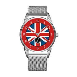 Fashion Men Watch Silvery Stainless Steel Waterproof Watch Men Top Brand Luxury Men's Watch Clock Union Jack Flag Black Leather Men's Watch