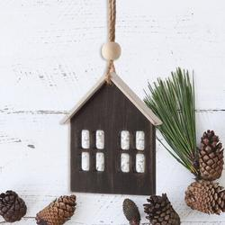The Holiday Aisle® Christmas Wood & Iron House Photo OrnamentWood in Black/Brown, Size 5.0 H x 2.87 W x 0.35 D in | Wayfair