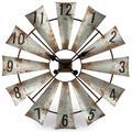 """Gerson 93223 - Rustic Metal Round Windmill Wall Clock. 29.75""""Diameter Wall Decor Clocks"""