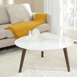 Josiah Retro Mid Century Round Lacquer Accent Table in White/Dark Brown - Safavieh FOX4217A