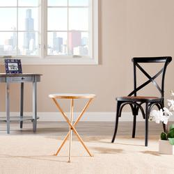 Marcie Gold Foil Round Top Accent Table in White/Gold - Safavieh FOX2504A
