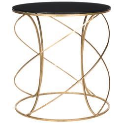 Cagney Glass Top Round Accent Table in Gold/Black - Safavieh FOX2535B
