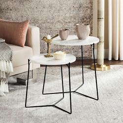 Ryne Retro Mid Century Lacquer Stacking End Table in White/Black - Safavieh FOX4263B