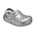 Crocs Silver / Silver Kids' Classic Glitter Lined Clog Shoes