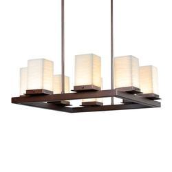 Justice Design Group Porcelina - Laguna 8 Inch Tall 1 Light LED Outdoor Hanging Lantern - PNA-7519W-WAVE-DBRZ