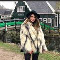 Zara Jackets & Coats | Faux Fur Coat | Color: Cream/Gray | Size: One Size -M