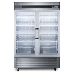 """Summit SCR49SSG 56"""" Two Section Reach In Refrigerator, (2) Left/Right Hinge Glass Doors, 115v"""