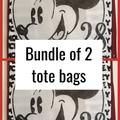 Disney Bags | 2 Bags Disney Mickey Mouse Retro Shopper Tote Bag | Color: Red/White | Size: Os