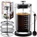 All Glass French Press Coffee & Tea Maker- Double Wall Thermal Insulated Heat Resistant Borosilicate One-Piece Glass Carafe Coffee Press |Advanced Filtration System- No Coffee Grounds,100% BPA Free ,Easy to Clean,34 Oz