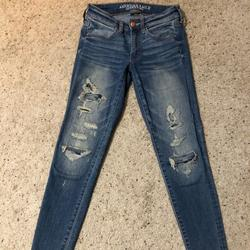 American Eagle Outfitters Jeans | A&E Denim Distressed Super Stretch Jegging Jeans | Color: Blue | Size: 2