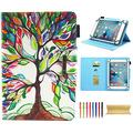Universal 10 Inch Tablet Case, Techcircle Cute Slim PU Leather Multi-Angle Stand Wallet Case for Apple iPad Air, iPad 9.7 2017/2018, Galaxy Tab, Kindle and More 9.5-10.5 Inch Tablet, Life Tree