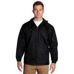 Mens Hooded Windbreaker Jackets Lightweight | Men's Black Windbreaker Jacket | Black Zip Up Hoodie Men | Waterproof Windbreaker Rain Jacket Mens Lightweight Hooded Raincoat (Black, Large) - éb79