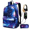 New Star Sky Printed Shoulders Bag with USB,With Headphone plug Backpacks