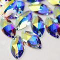 Horse Eye Crystal AB Sew On Rhinestones Flatback Rhinestones for Clothes Crafts Sewing Beads Decorations K9 Glass (6x12mm 72pcs)