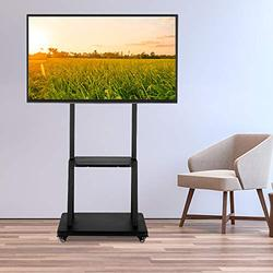 Henf Rolling TV Cart Mobile TV Stand for 40 to 80 inch LCD LED Plasma Flat Panel Screen,Height Adjustable TV Floor Stand Console with Locking Wheels,Max Load 176 Lbs