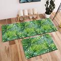 """HVEST 2pcs Green Palm Leaves Area Rug Set Tropical Forest Carpet Non-Slip Runner Rug for Living Room Bedroom Kitchen Floor Mat,(1'4"""" x 4'+1'4"""" x 2')"""