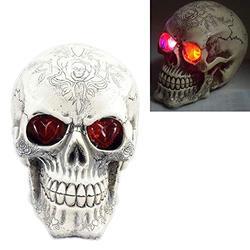 """Halloween Skull Decoration, 5.9"""" Led Printed Head Skull - Scary Ghost Skeleton Skull for Halloween Party Home & Outdoor Decor (Printed Head Skull)"""