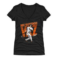 500 LEVEL Mike Yastrzemski Shirt for Women (Women's V-Neck, Medium, Tri Black) - San Francisco Shirt for Women - Mike Yastrzemski YAZ O WHT