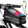 Epessa Bike Phone Front Frame Bag, Waterproof Bike Phone Mount Holder Bicycle Top Tube Handlebar Bag with Sensitive Touch Screen for Cellphone Cycling Bike Accessories Below 6.7'', Large Capacity