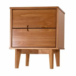 """Delacora WE-BDR2DSLNS 20"""" Wide Wood Mid-Century Modern Nightstand with 2 Drawers with Carved Pulls"""