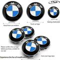 7pcs BMW Native Blue and White Emblem,68mm BMW Wheel Center Caps Hub CapsX4,BMW Emblem Logo Replacement for 82mm Hood/74mm Trunk,BMW Steering Wheel Emblem Decal
