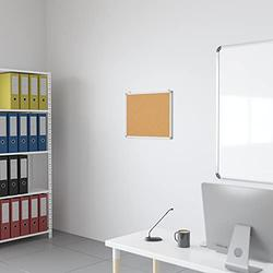 "Flash Furniture HERCULES Series 23.5""W x 17.75""H Natural Cork Board with Aluminum Frame"