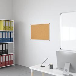 "Flash Furniture HERCULES Series 35.5""W x 23.5""H Natural Cork Board with Aluminum Frame"
