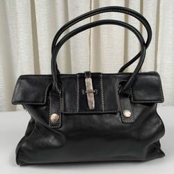 Michael Kors Bags | Michael Kors Black Leather Purse | Color: Black/Silver | Size: Os
