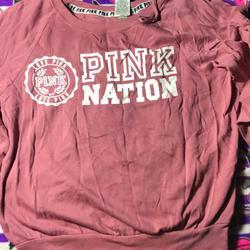 Pink Victoria's Secret Sweaters   Pink Victorias Secret Sweatshirt   Color: Pink/White   Size: M