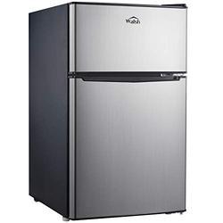 Walsh WSR31TS1 Compact Refrigerator, Dual Door Fridge, Adjustable Mechanical Thermostat with True Freezer, Reversible Doors,3.1 Cu.Ft, Stainless Steel Look