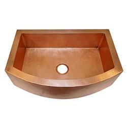 "Soluna Copper Farmhouse Sink - 33"" Hammered Copper Kitchen Sink Matte Copper Finish - Pure Rounded Copper Style Sink - Premium Copper Sink - Antique Hammered Copper Sink - Luxury Copper Farmhouse Sink"