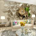 Custom Photo 3D Wallpaper Lion Broken Wall Mural Paintings 3D Wallpaper for Living Room Bedroom Walls,300X210cm