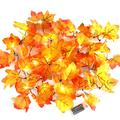 CPPSLEE 40 LED Battery Operated Garland with Lights, Christmas Garland Waterproof Maple Leaf String Lights, Christmas Decorations Lights or Indoor Outdoor Home Battery Operated Garland