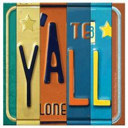 Ebern Designs License Plate Y'all Occasions Coaster Set in Blue/Brown/Orange, Size 4.25 H x 1.25 D in | Wayfair FKT86