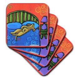 Winston Porter 4 Houses w/ Dog Ceramic Tile Coaster Ceramic in Blue, Size 0.25 H x 4.25 D in | Wayfair 60FD5AAB00B64863A22FE8D03CF4DB5F