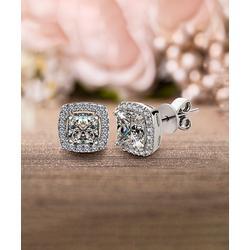 Inspired by You Women's Earrings Silver - Cubic Zirconia & Sterling Silver Square Stud Earrings