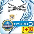 Wilkinson Hydro 3 - Lames de Rasoir pour Homme - Pack de 10 + Rasoir