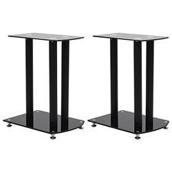 vidaXL 2X Aluminum Speaker Stands Sound Support Speaker Holders Speaker Platform Stand Table Bookshelf Desktop Monitor Speaker Safety Glass Black