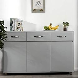 GLCHQ Storage Drawer File Cabinet nightstand Side Cabinet Entryway Console Side Tableswith Three Drawers and Three Doors for Office or Living Room Kitchen Room (Three Doors, Grey)