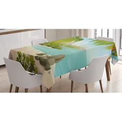 East Urban Home Exotic Beach w/ Coconut Palm Trees & Rocks Journey Oceanic Coastal Table ClothPolyester in Blue/Gray/Green, Size 52.0 W x 70.0 D in
