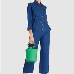 Free People Jeans | Fp X M.I.H. Jeans Harper Denim Jumpsuit, Sz L, Nwt | Color: Blue | Size: L