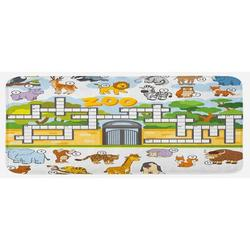 East Urban Home Zoo Themed Education Game w/ Different Animals Numbers & Words Print Multicolor Kitchen MatSynthetics in Blue | Wayfair