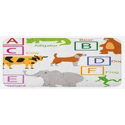 East Urban Home Alphabet Letters w/ Zoo Animals Fun Preschool Teaching Theme School Multicolor Kitchen MatSynthetics in Gray | Wayfair