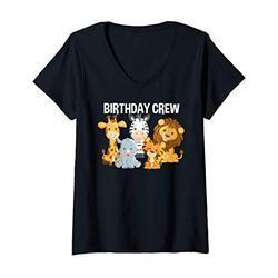 Womens Birthday Crew Zoo Safari Jungle Animals Birthday Party V-Neck T-Shirt